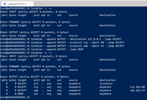 Set up iptables rules