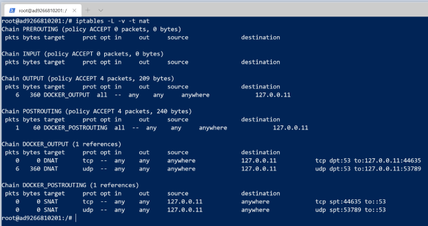 iptables rules in the NAT table
